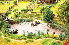 Scenery Set Fish Pond -- Includes- Fishermen, Assorted Plants, 20 Grass Tufts, Lake Film - HO-Scale