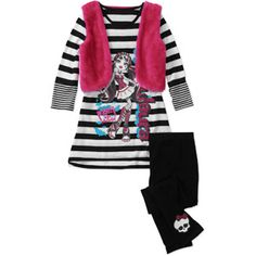 Monster High Girls' 2 Piece Tunic with Fur Vest and Legging Set