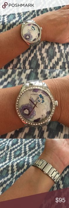 Stop & smell the flowers 4 each breath isa miracle Authentic excellent condition Fossil watch. Pictures shown. Unpacking still so I have to see if I find the box and extra links. Will update when I do. Just needs a battery. Beautiful pearl face an diamond floral accents. Stainless steel. Fossil Jewelry