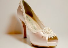 Blush Lace Bridal Heels, Pearl and Lace Wedding Shoes, Blush Pink Wedding Heels, Wedding Heels, by AJuneBride on Etsy https://www.etsy.com/listing/192256409/blush-lace-bridal-heels-pearl-and-lace