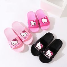 Toddlers Kids Cartoon Peppa George Pig And Dinosaur Bowknot Flat Beach Slippers.The bottom is a non-slip outsole that can be worn for good grip, and they go to the beach pool, bathroom, street or anywhere. Cute Slippers, Kids Slippers, Summer Slippers, Slippers For Girls, Hello Kitty Shoes, Pink Hello Kitty, Paw Patrol Bedding, Beginner Yoga Workout, Marvel Captain America