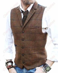 Mens brown check collar lapel tweed waistcoat vest wool blend – tailored fit – - My Fashion World 2019 Mens Formal Vest, Mode Man, Men's Waistcoat, Waistcoat Men Casual, Herren Outfit, Vest Outfits, Casual Outfits, Mens Fashion Suits, Fashion Wear