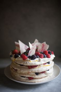 Almond Dacquoise Cake with Lemon Curd, Cream and Berries