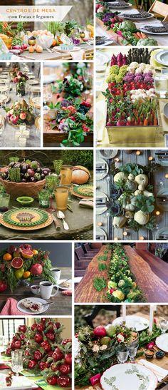 Inspiração: 11 centros de mesa feitos com frutas, legumes e verduras - Ideias lindas para uma mesa de almoço