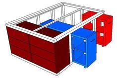 IKEA hack: The Kallax shelf and the Malm chest of drawers become .-IKEA-Hack: Aus dem Kallax Regal und der Malm Kommode wird ein Bett mit Unterbauschrank IKEA-Hack: The Kallax shelf and the Malm chest of drawers become a bed with a built-in cupboard Diy Kallax, Kallax Shelf, Ikea Hacks, Diy Hacks, Diy Furniture, Furniture Design, Furniture Dolly, Living Furniture, Office Furniture