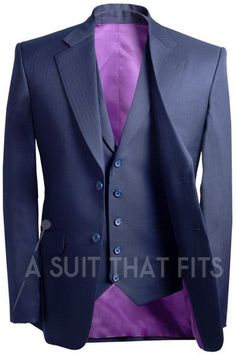 Navy Distinguished Three Piece with dark purple lining.