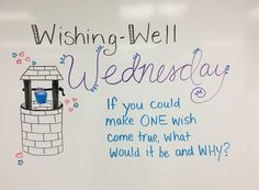 Wishing Well Wednesday whiteboard journal prompt 1 wish come true what and why? Classroom Whiteboard, Interactive Whiteboard, Whiteboard Games, Morning Board, Morning Meeting Board, Morning Activities, Listening Activities, Daily Writing Prompts, Writing Ideas