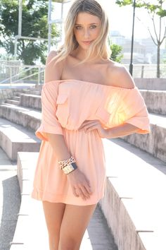 Peach Off-Shoulder Frock