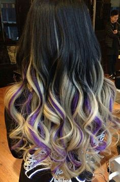 Black ombre blonde streak dyed hair