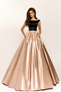 Black and Champagne Satin Evening Dress with Beaded Sash Boat Neckline Long Prom Dresses with Pocket Women Formal Party Gowns Long Gown Dress, Lehnga Dress, Lehenga, Designer Party Wear Dresses, Indian Designer Outfits, Stylish Dresses, Fashion Dresses, Elegant Maxi Dress, Lace Evening Dresses