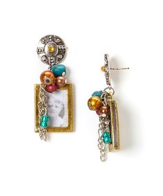 Another great find on #zulily! Treska Gold & Turquoise Boy Frame Drop Earrings by Treska #zulilyfinds