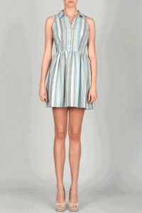 Ethereal Dreams Hampton Striped Back Cut-Out Dress In Mint/Grey/Multi