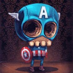 ✿★✝☮ SKULL ✝☯★☮ Illustration - Captain America