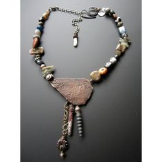 Handmade artisanfossil necklacestaci louise originals, asian style handmade, simple fossil necklace, sea glass