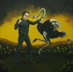 Tribute painting of Johnny Cash Battling The Ostrich by Erika Jane.