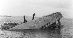 The type XXI U-boat U-3503 being raised by the Swedish Navy in 1946. John Adolfsson, Hono Fishing Museum, Sweden.