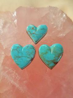 Light Blue Pilot Mountain Turquoise Heart Cabochon Trio by SaiyoStoneJewelry on Etsy