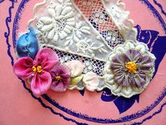 Antique ribbon work pink flowers applique rococo by lacemonster816, $30.00