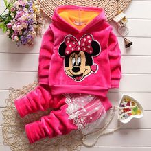 Winter girls clothes 2016 models of child suit girls two-piece infant baby cartoon minnie children's christmas outfit clothing(China (Mainland))