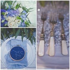 Wedding table decor, Blue themed, Cutlery. Visit prettyasapicture.ie, an award winning wedding invitation and gift boutique based in Ireland, who offer a complete custom design service for letterpress wedding invitations and personalised stationery