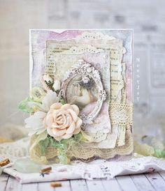 Utterly romantic Handmade Shabby Chic wedding card by NensyJoy 2015 (Nina Shishlova)