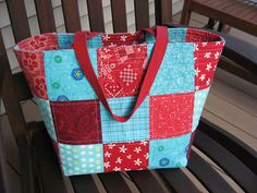 Hooked on Needles: Red and Aqua Tote Bag - Fun Color Combination!