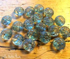 Clear pressed painted floral vintage glass buttons at... facebook.com/littlebuttonroom