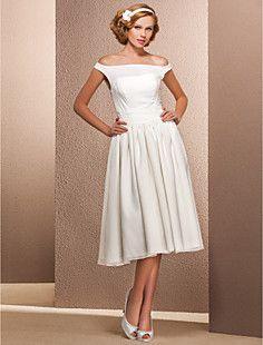 a-line off-die-Schulter-Tee-Länge Chiffon Hochzeitskleid – EUR € 123.74