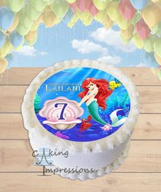 little mermaid edible image frosting sheet round cake topper printed with edible ink Happy 4th Birthday, Girl Birthday, Disney Princess Birthday Cakes, Round Cakes, Custom Cakes, The Little Mermaid, Cake Toppers, Frosting, Desserts