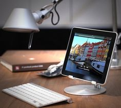 Just Mobile UpStand is the high-style desktop stand for iPad and tablets.Precision engineered from aluminum, the UpStand's supporting grips are finished in rubber to hold your iPad firmly in place … Apple Tv, Apple Watch, Apple Ipad, Geek Gadgets, Cool Gadgets, Cool Technology, Technology Gadgets, Electronics Gadgets, Support Ipad