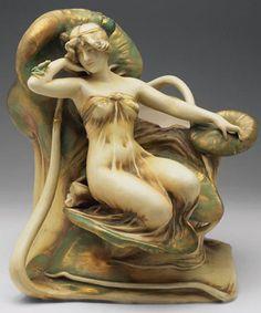 Water Lily Figural Vase by Amphora  Bohemia, circa 1900