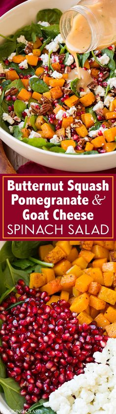 Butternut Squash Spinach Salad – Cooking Classy Butternut Squash, Pomegranate and Goat Cheese Spinach Salad with Red Wine Vinaigrette – definitely one of my FAVORITE fall/winter salads! The flavors are blend perfectly. Vegetarian Recipes, Cooking Recipes, Healthy Recipes, Vegetarian Cooking, Healthy Salads, Healthy Eating, Taco Salads, Cocina Natural, Gula