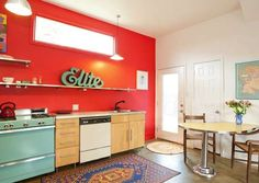 Red Vintage Kitchen Kitchen Decor, Small Kitchen Decor, Retro Kitchen, Vintage Kitchen, Kitchen, Kitchen Design, Kitchen Remodel, Kitchen Renovation, Kitchen Photos