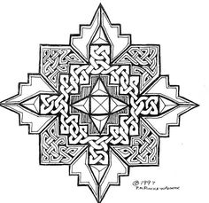 mandala Celtic tangle by P. Celtic Mandala, Celtic Tribal, Celtic Art, Celtic Dragon, Mandala Coloring, Colouring Pages, Coloring Books, Celtic Patterns, Celtic Designs
