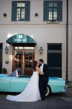 Talk about a classy exit! We love this Tiffany blue colored vintage car for this couple's wedding send off at the River Inn of Harbor Town. Click the image to learn more. Photo credit: Love Be Photography
