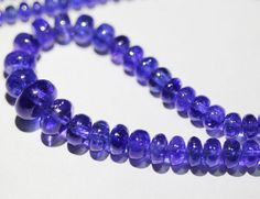 Tanzanite Smooth Roundel Beads Strand via jewelsexports.com