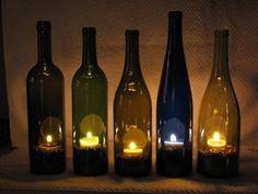 wine bottle crafts with lights | Tea Light Wine Bottle Holder (Etsy $12.50) - ... | Wine Bottles Decor ...