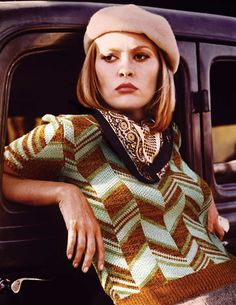 beatpie: CELLULOID PAPER DOLLS: Fall Fashions in Classic Films (Faye Dunaway in Bonnie and Clyde, 1967. Sweater by Miu Miu, 2014.)