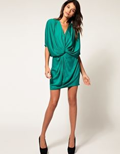 ASOS Dress with Drape Twisted Knot Front $42.97