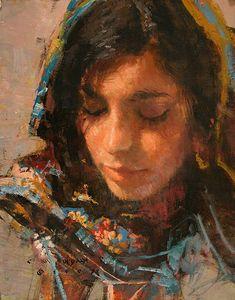 """Quiet Mood"" - C.M. Dudash, oil on linen {contemporary figurative artist beautiful female head woman face portrait texture painting #loveart}"