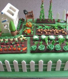Of course we support eating more veggies, but we think you should also eat more cake, that looks like veggies. Garden Theme Cake, Garden Birthday Cake, 80 Birthday Cake, Garden Cakes, Fondant Icing, Fondant Cakes, Allotment Cake, Vegetable Garden Cake, Beatrix Potter Cake