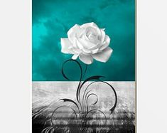 Teal Tree Moon Decor, Teal Wall Pictures, Teal Bedroom Wall Art Home Decor Matted Picture - tempie -