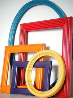 Colorful frames substitute art.
