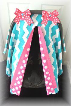 car seat canopy, car seat cover, chevron, teal, hot pink, polka dot, damask, baby, chevron, infant girl, baby girl, baby boy, infant boy