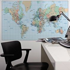 Mapa Mundo autocolante em vinil decorativo de parede