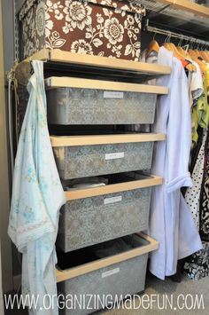 "Great closet ideas: ""dresser set,"" bench for putting on shoes, shirts folded in 4ths, keeping a donation box right in the closet!"