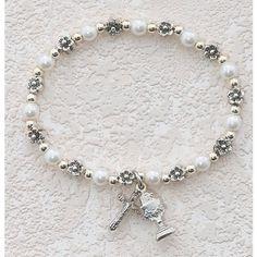 "6.5"" Catholic First Holy Communion Childrens Girls Rosary Bracelet White Pearl Stretch with Cross & Chalice. MV001 http://www.amazon.com/dp/B004IVGJR0/ref=cm_sw_r_pi_dp_c8S6wb16KQ0MD"