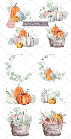 watercolor set by Lemaris on Creative Market - ✏ Thanksgiving / Autumn Hello Pumpkins watercolor set by Lemaris on Creative Market - ✏ Thanksgiving / Autumn Hello Pumpkins watercolor set by Lemaris on Pumpkins in Sunflowers Watercolor clipart Hand painted Halloween Illustration, Halloween Drawings, Image Halloween, Fall Halloween, Halloween Projects, Halloween Pumpkins, Halloween Poster, Halloween Design, Halloween Decorations