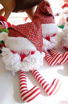 3 Adorable Vintage Stuffed Santa Claus Cloth Christmas Dolls $35