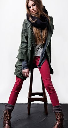 wine color jeans and army style jacket. Cute winter look